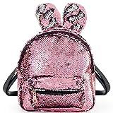 Pailetten Rucksack Damen Schulranzen Tagesrucksack Glitzer Rucksack für mädchen pink Daypack Backpack Paillette Tasche (pink)