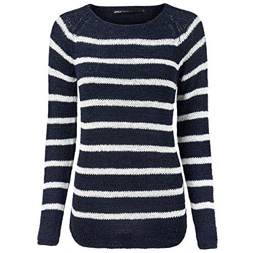 ONLY Damen onlTAPPY L/S Stripe CC KNT Pullover, Mehrfarbig (Sky Captain Stripes:W Cloud Dancer), 36 (Herstellergröße: S)