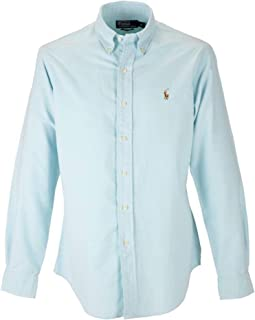 RALPH LAUREN Polo Men's Long Sleeve Oxford Button Down Shirt-Aegean blue-2XL
