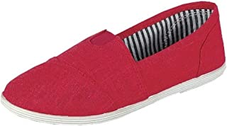 Womens Canvas Slip-On Shoes with Padded Insole