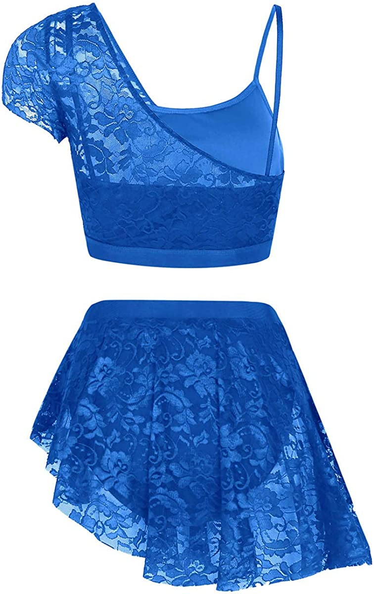 YOOJIA Women Adult Asymmetric Lace Contemporary Lyrical Dance Outfits Crop Top with Short Skirt