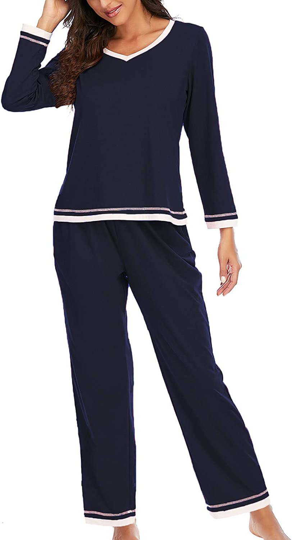 Women's Pajama Set Long Sleeve Solid Lounge Wear Loose Comfortable Home Sleep wear Tops+Pants Set