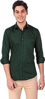 Vogueman Men's Cotton Green Casual Full Sleeve Regular Fit Shirt