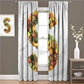 GUUVOR Letter S for Bedroom Blackout Curtains S Symbol with Fruits Blackout Curtains for The Living Room W72 x L72 Inch