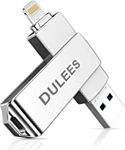iPhone USB Flash Drive, DULEES Photo Stick for iPhone, USB 3.0 128GB Lightning External Memory Storage for iPhone iPad iMac Android PC Backup Pictures Thumb Jump Drive (Silver)