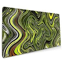 マウスパッド 抽象的な緑のヘビ マウスパッド デスクマット 400x900mm ゲーミング用 オフィス用 防水 滑り止め 大型 おしゃれ