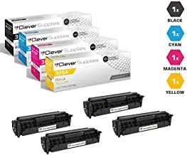 Clever SuppliesCompatible Toner Cartridges 4 Color Set for HP 305A (CE410X, CE411A, CE412A, CE413A),Pro 400 Color M451DN, M451DN, M451DW, M451NW, M475DN, Color Laserjet Pro 300 M375 MFP, M375NW