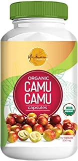 Yakee Organics Raw Camu Camu Capsules – 100% Natural and Safe Supports Energy and Immune System – Powerful Vitamin C Suppl...