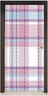 Homesonne Checkered 3D Door Wallpaper Antique Clothing Pattern Design with Retro Display English Culture for Bedroom Decoration Lilac Purple Light Blue,W38.5xH79