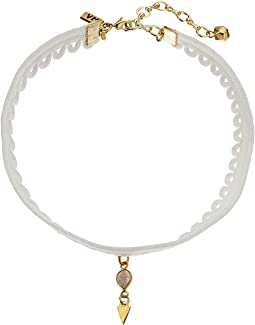 White Lace Choker with Laborite and Gold Teardrop Necklace