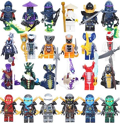 LINYOTEC Ninjas kämpfen mit Zubehör, 24 Stücke Actionfiguren Bauklötze Kinder Spielzeug, Ninjas with Accessories, Kids Gift ztot