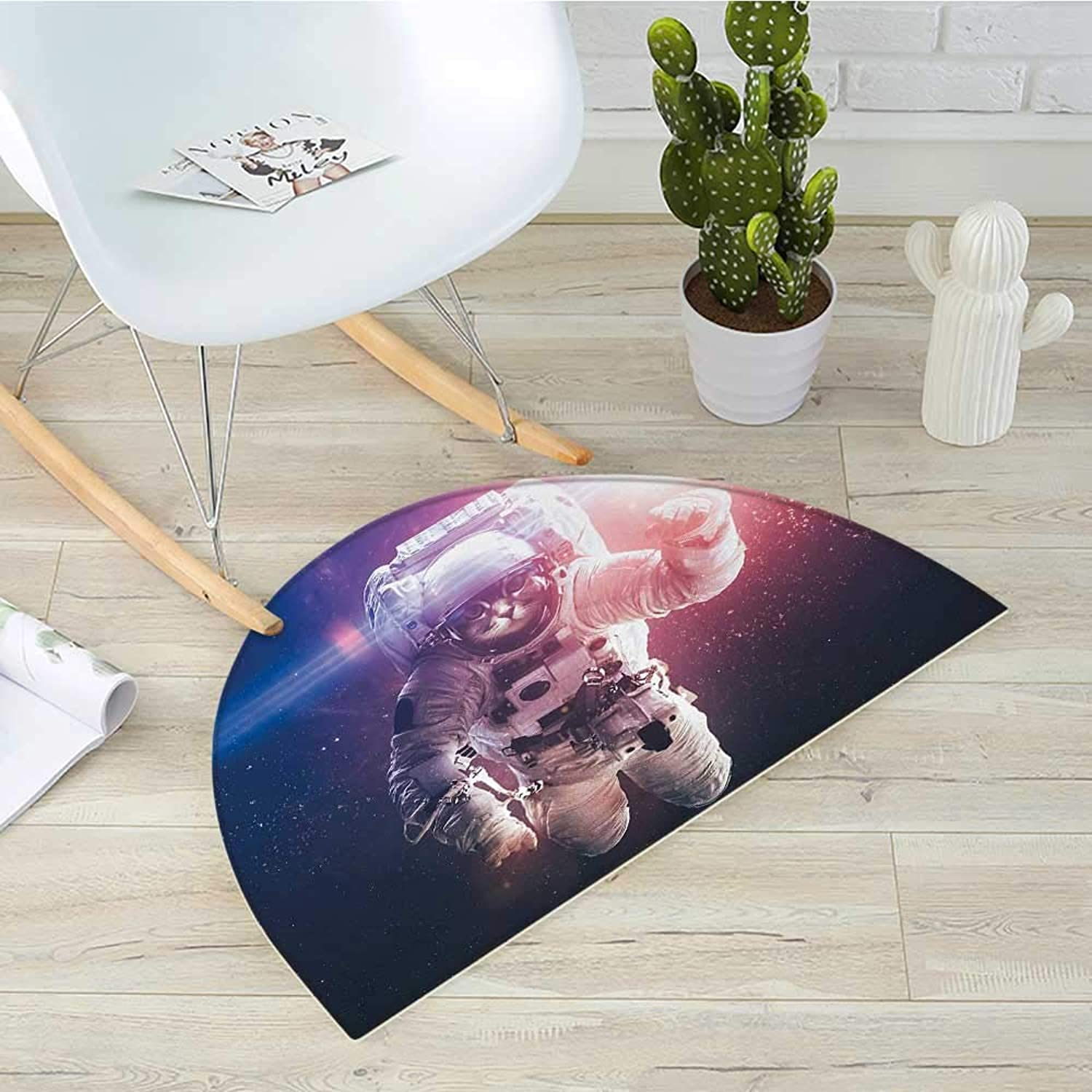 Space Cat Semicircular CushionFlying Cat Without Gravity with Clusters Planet Eclipse Image Entry Door Mat H 31.5  xD 47.2  White Purple and Dark bluee
