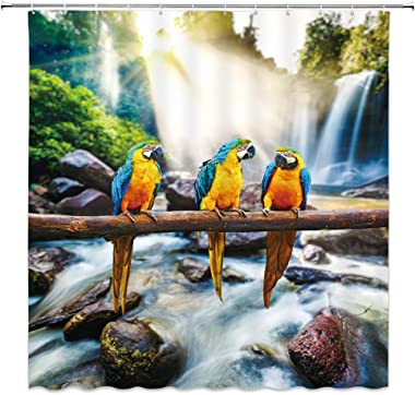 Parrot Shower Curtain Waterfall Macaw Bird Family on Branch Nature Scenery Scenic Cute Fun Pets Kids Tropical Plant Wildlife Forest Animal Rock Sunlight Fabric Bathroom Curtains,70 x 70 Inch