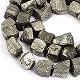 RUBYCA, pepite di pirite naturale, sfuse, grado AAA, per creare gioielli fai da te, 1 filo e 47 pezzi, Nugget 10mm