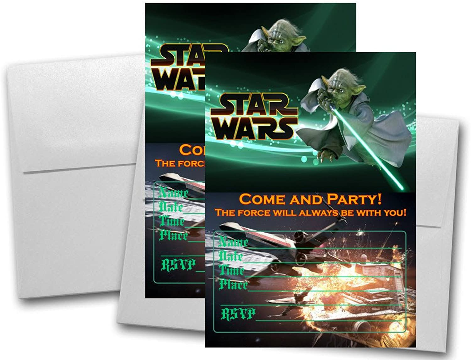 12 STAR WARS Birthday Invitation Cards (12 White Envelops Included)  1