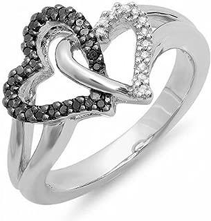0.25 Carat (ctw) Black & White Diamond Ladies Split Shank Heart Love Promise Ring 1/4 CT, Sterling Silver