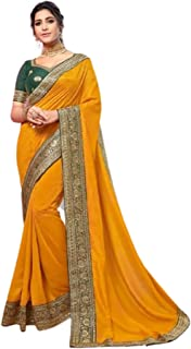 Indian Designer Fancy Vichitra Silk Plain Saree with Heavy weaved border Blouse Party Festival Sari 6281