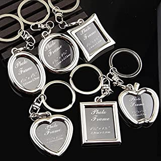 Chris.W Fashion Keychain with Locket Photo Frame - Pack of 6 , Varity of Style - Insert Picture Frame Key Ring Key Holder - Great Gift Idea