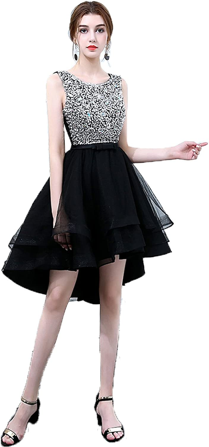 Huifany ONeck High Low Short Prom Dresses Formal Dresses for Women Evening