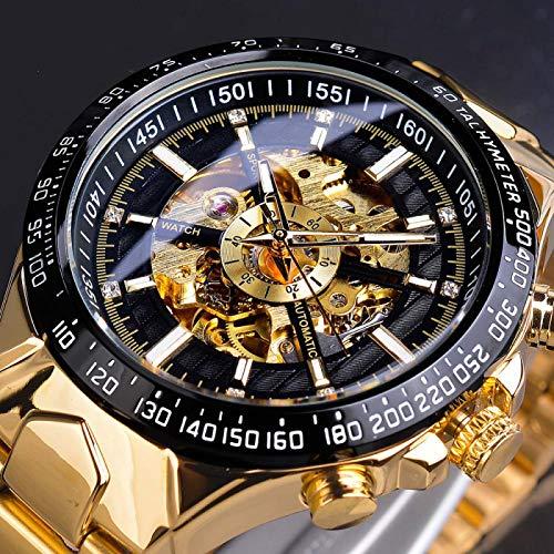 UNJ Reloj automático Dorado Negro con Esfera de Diamante, Reloj de Pulsera mecánico de Negocios de Acero Inoxidable Resistente al Agua Luminoso para Hombre,UN