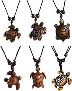 Boys Sea Turtles Pendant Necklaces Gifts for Women Men Adjustable Rope 2/6/8 Pcs