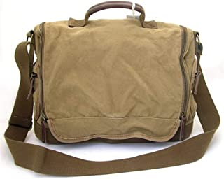 Leather Bag Mens Retro Green Mens Canvas Satchel Bags Courier Messenger Bag for Daypack Fashion Travel High Capacity (Color : Dark Khaki, Size : S)