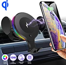 SHSTFD Wireless Car Charger Mount, 10W/7.5W/5W Qi Auto Clamping Fast Car Charger Holder, Air Vent Phone Holder Compatible with iPhone 11/X/XR/Xs/Xs Max/8/8 Plus, Samsung S5/S6/S7/S8/S9 Edge+, Note 7
