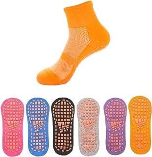 Non Slip Socks, Yoga Socks ,Slipper Pilates Hospital Socks for women men, 6 pairs