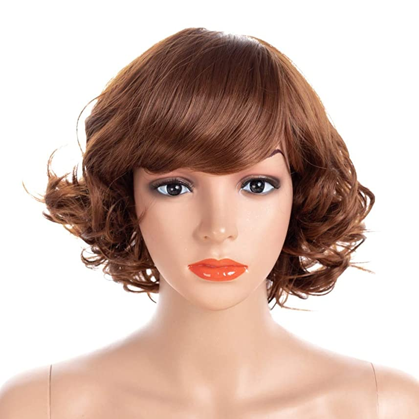 人物規範布Isikawan 女性のためのファンシードレス&コスプレパーティー高品質ナチュラル探しのための茶色の短い波状の巻き毛のかつら (色 : ブラウン, サイズ : 40cm)