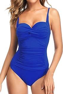 Retro Swimsuit Women's Ruched Vintage Swimwear Tummy Control Swimsuit Push Up One Piece Bathing Suit