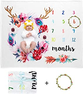 Docamor Baby Monthly Milestone Blanket,Large 50'' x 40'' Soft Floral Baby Blanket Includes Floral Wreath 1 to 12 Months Best Photography Backdrop Photo Prop for Newborn Baby Boy & Girl