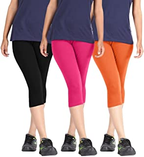 Rooliums Woman Super Fine Cotton Capri Combo (Brand Factory Outlet) Pack Of 3 (Black, Pink and Orange) - Free Size