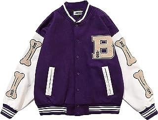 Varsity Jacket - Chaqueta de béisbol para hombre y niño, con bolsillos, estilo universitario, unisex, color morado, talla M