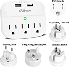 International Power Adapter, World Travel Pug Adapter Kit, 2 USB3 OutletWall Adapter Cruise Power Strip Surge Protector for Europe, UK, China, Australia, Japan Perfect for Laptop, Phone, Cameras