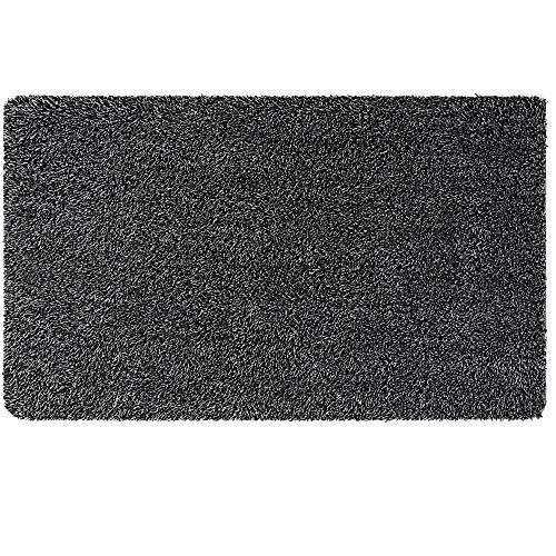 Aonewoe - Zerbino in cotone, antiscivolo, assorbente, per fanghi sporchi, lavabili, per ingresso e scarpe, raschietto (nero e grigio, 60 x 90 cm)