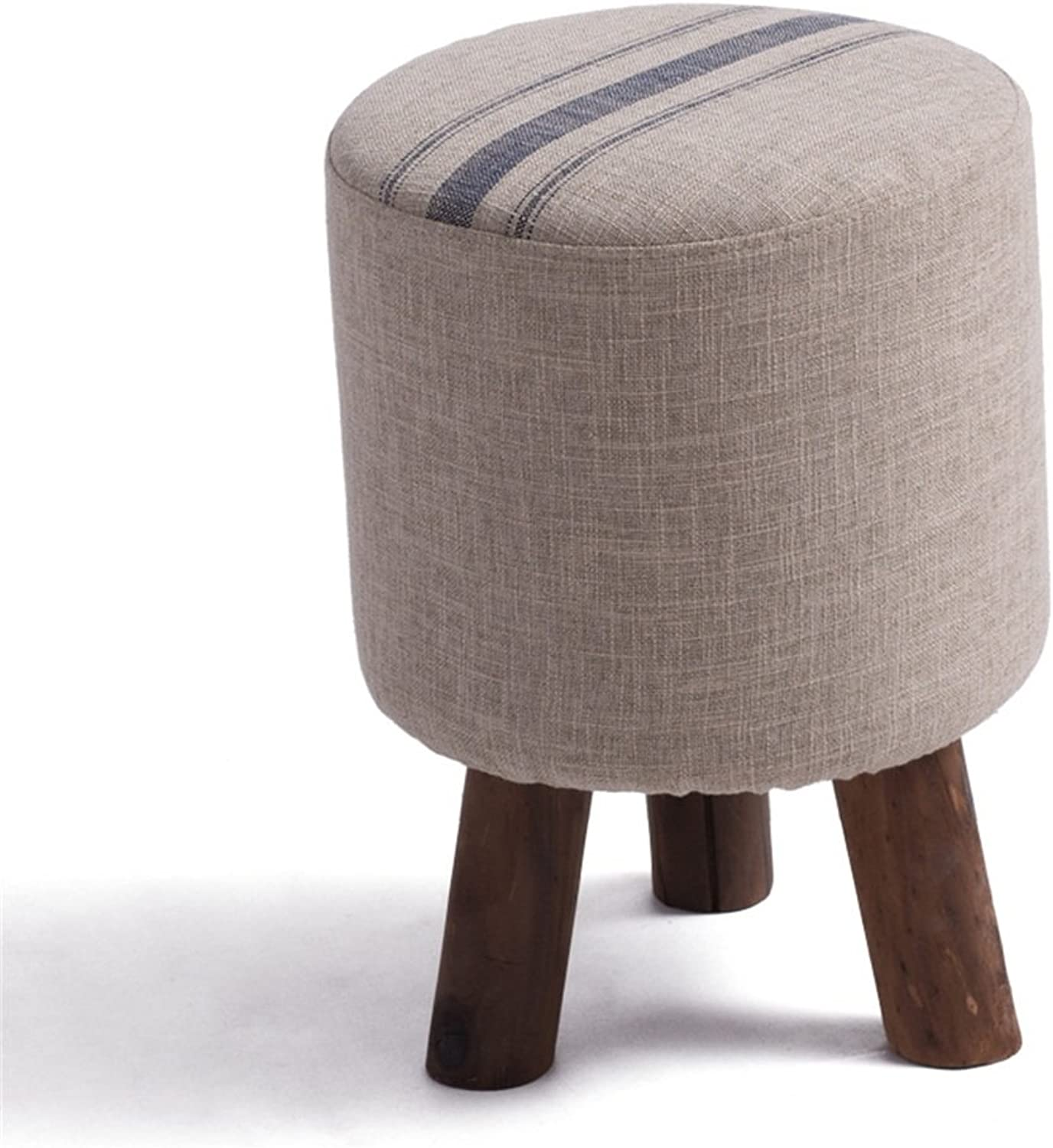 Footstools, Stool Solid Wood Stool Padded Footstool Round and Detachable Linen Cover