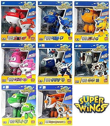 [8 Pcs SET] Super Wings Transforming planes series animation by David Toy (Hogi + Ari + Mina + Donnie + Jerome + BJ Bong + ZUZU + Gründ Albert)