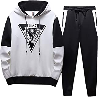 MogogoMen Hooded Active Relaxed Fit 2 Piece Set Letter Printed Sweatsuit