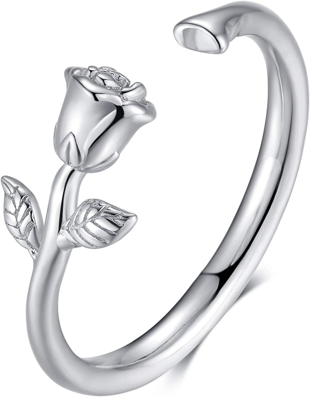 Presentski Rose Flower Rings Retro Open Philadelphia Mall S Vintage Ranking TOP13 Wrap Ring