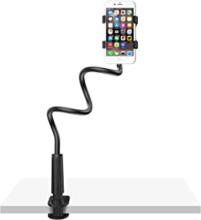 Gooseneck Cell Phone Holder Bed, Lazy Bracket, Universal Mobile Phone Clip Stand, Flexible Long Arm Rotating Mount for for...