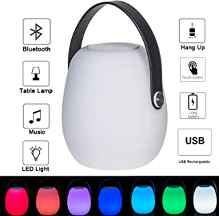 Topadorn LED Table Light Portable Lanterns Modern Mood Lights with Wireless Bluetooth Speaker for Everyday and Party Use, Touch Control Bluetooth Speaker Color-Changing Table Lamp