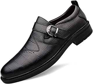 CHENDX Shoes Lightweight Business Oxford for Men Formal Anti Slip Shoes Slip on Style Metal Buckle Genuine Leather Solid Color Block Heel Stitched Perforated (Color : Black Plaid, Size : 9.5 UK)