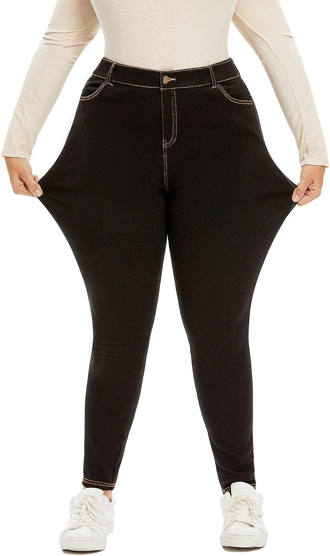 panlndamaris Women's Plus Limited price sale Size Jeans Waist High Casual Office Max 87% OFF Ti