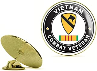 HOF Trading Gold US Army 1st Cavalry Division Vietnam Combat Veteran with Ribbon Gold Lapel Pin Tie Suit Shirt Pinback