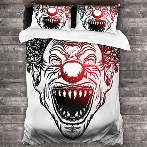 LUOWAN Duvet Cover Set,Clown Horror Spooky Bizarre Circus Punk Person Vector Human Face Zombie Halloween Movie Drawing Art Product Jester Teeth Evil,Decorative 3 Piece Bedding Set with 2 Pillow Shams,