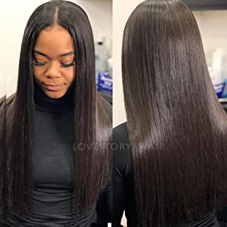 Lovestory 50% Light Yaki Synthetic Lace Front Wigs For Women Yaki Straight Natural Hair Wigs With Baby Hair 180 Density (22-24 inch)