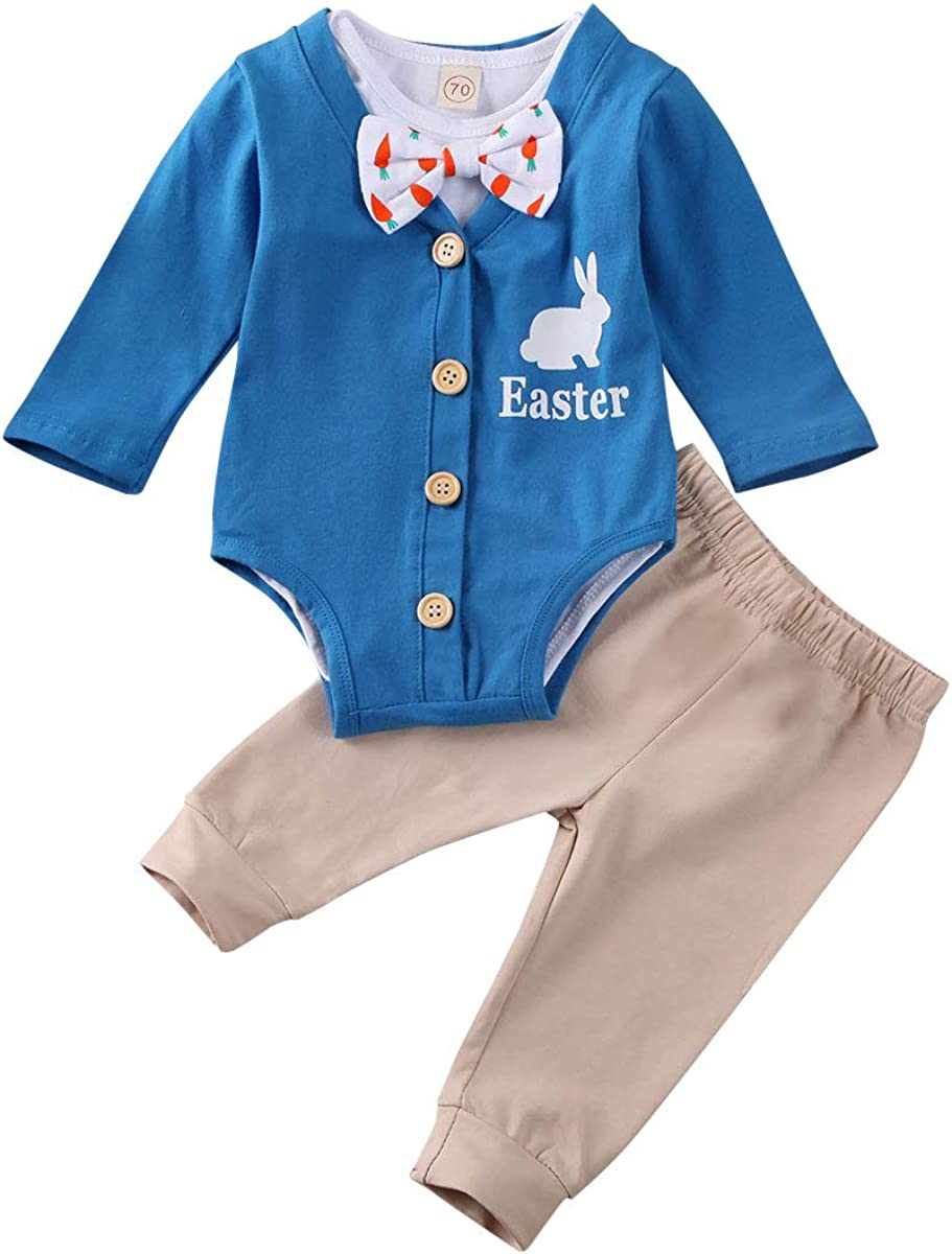Amazon.com: Newborn Baby Boy Easter Outfits Short Sleeve Bowtie