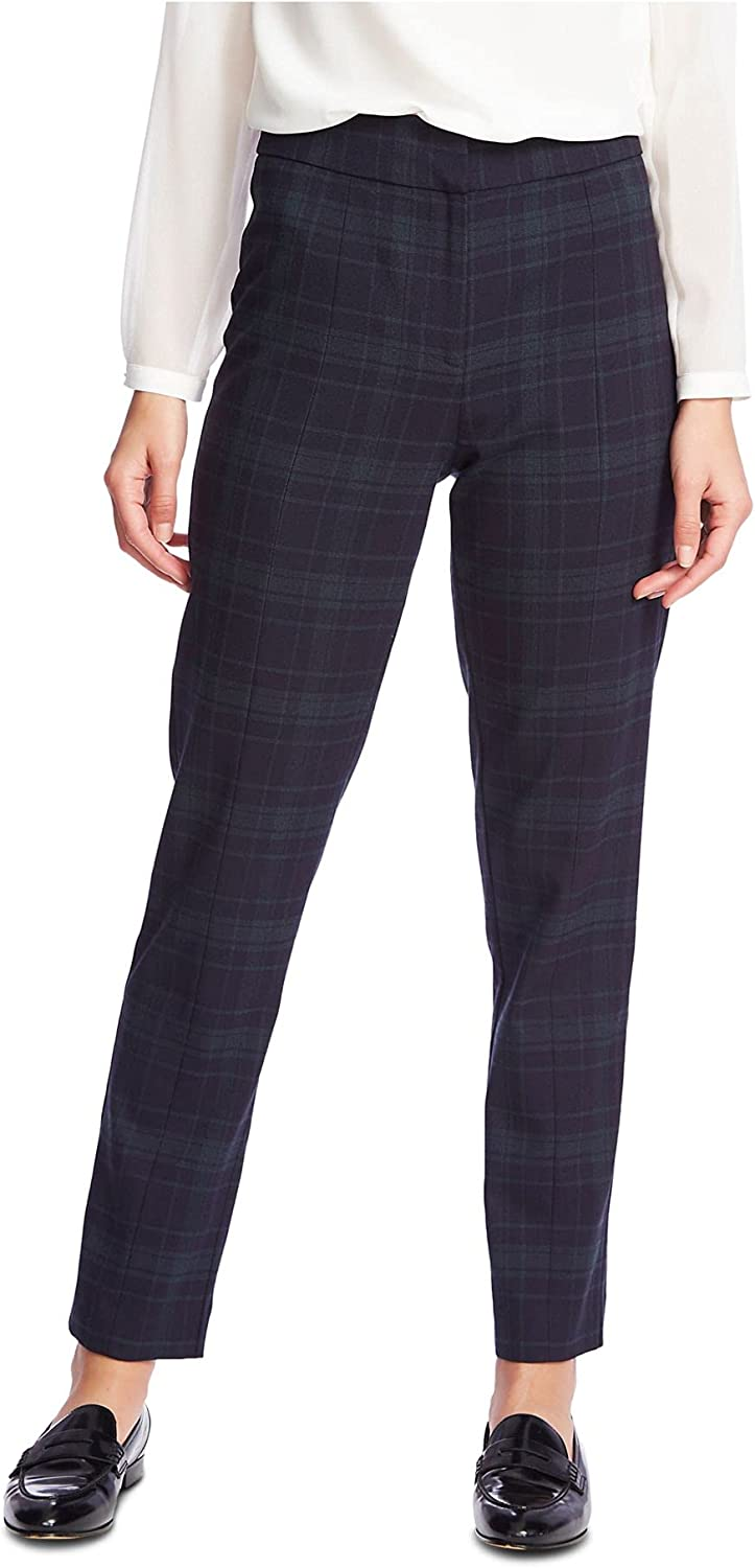 1. STATE Womens Navy Plaid Pants Size 8