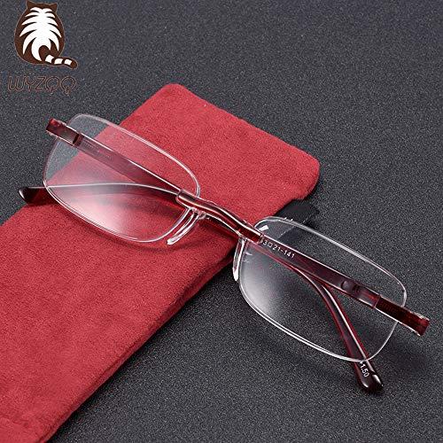 WYZQQ leesbril, lichte leesbril voor mannen en vrouwen, zonder montuur met comfortabel doosje, ontwikkeld voor gezondheid en draagcomfort