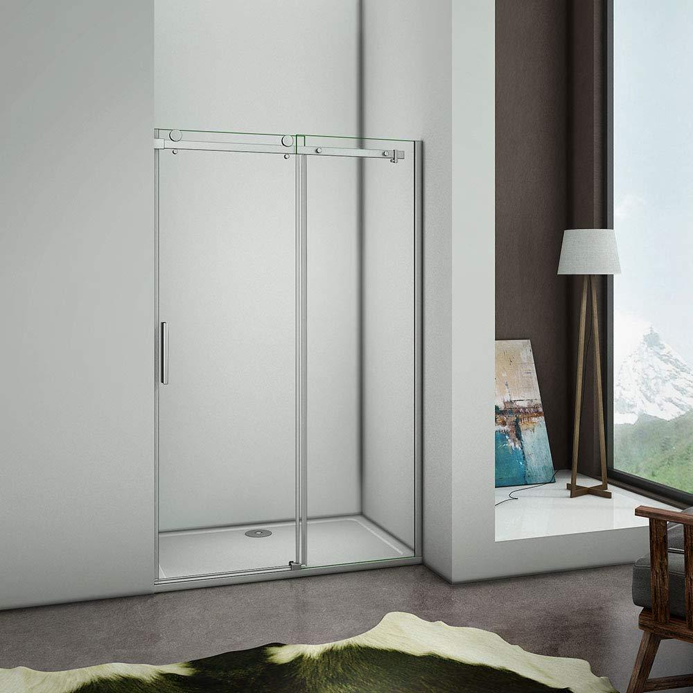 Aica - Puerta de ducha corredera (100 x 195 cm, mampara de ducha, 8 mm, cristal templado antical, instalación en caseta: Amazon.es: Bricolaje y herramientas